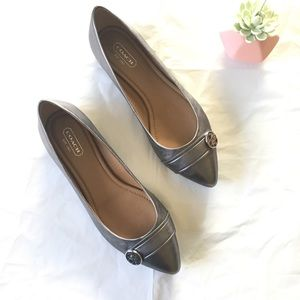 Coach Onida Pewter Leather Flats  Pointy Toe